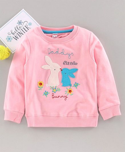 Ojos Full Sleeves T-Shirt Bunny Patch - Pink