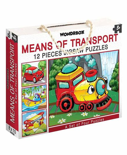 Wondrbox Means of Transport Jigsaw Puzzle Set of 4 - 12 Pieces Each