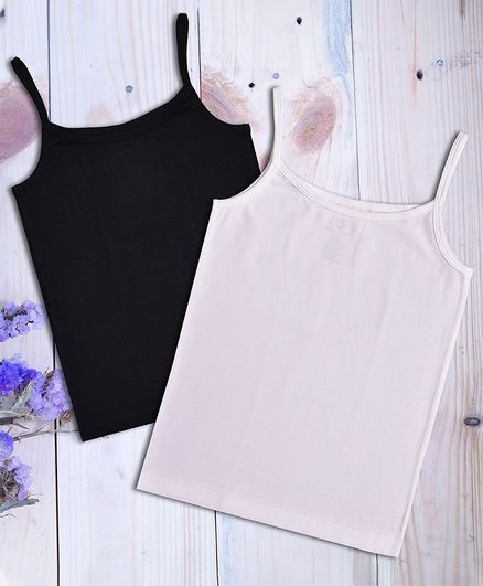 Charm n Cherish Pack Of 2 Sleeveless Solid Color Camisole  - White & Black