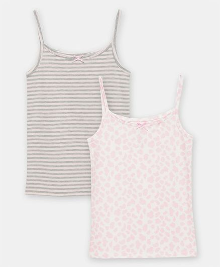Charm n Cherish Pack Of 2 Sleeveless Striped & Printed Camisole  - Multicolor