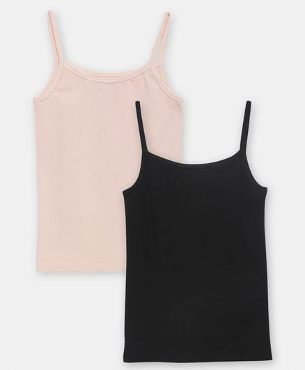 Charm n Cherish Combo Pack Of 2 Solid Color Camisole  - Beige & Black