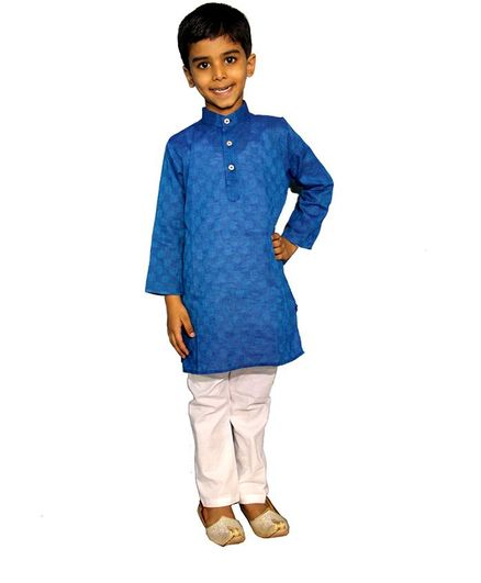 Mittenbooty Full Sleeves Motif Pattern Kurta With Pajama - Blue
