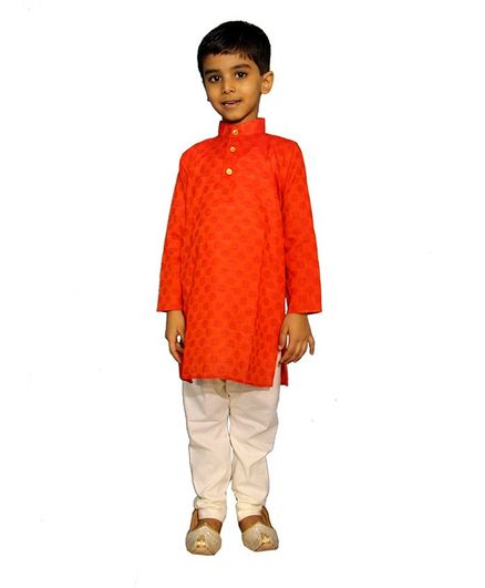 Mittenbooty Full Sleeves Motif Pattern Kurta With Pajama - Red