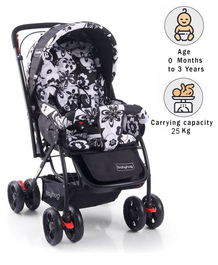 Babyhug Cosy Cosmo Stroller With Reversible Handle & Back Pocket - Black & White