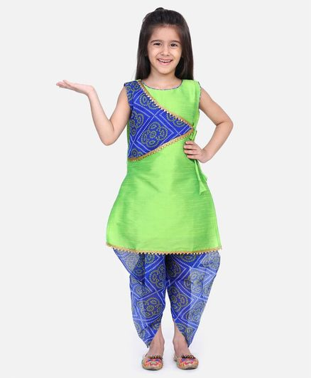 Bownbee Sleeveless Bandhani Kurta & Dhoti Set - Green