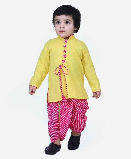 BownBee Full Sleeves Solid Color Kurta With Leheriya Dhoti - Yellow