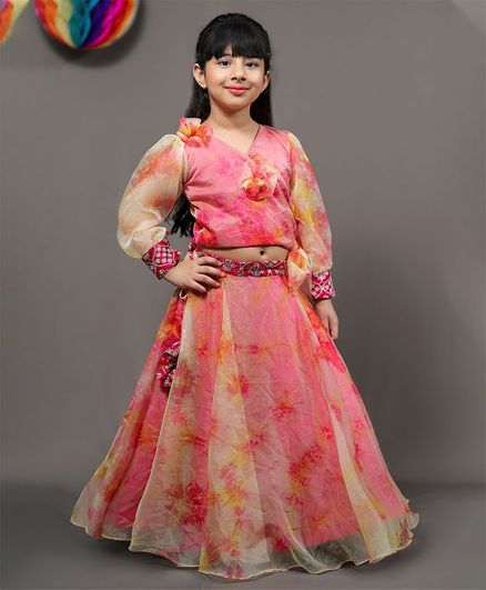 Kirti Agarwal Pret N Couture Varsha Showering Trends Balloon Style Full Sleeves Print Crop Top With Small Tassel Lehenga Set  - Pink