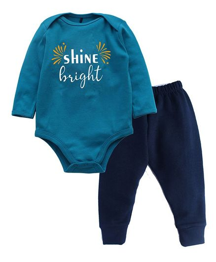 Kadam Baby Full Sleeves Shine Bright Print Onesie With Pant Set For Diwali - Blue