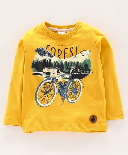 Ollypop Full Sleeves Tee Forest Print - Yellow