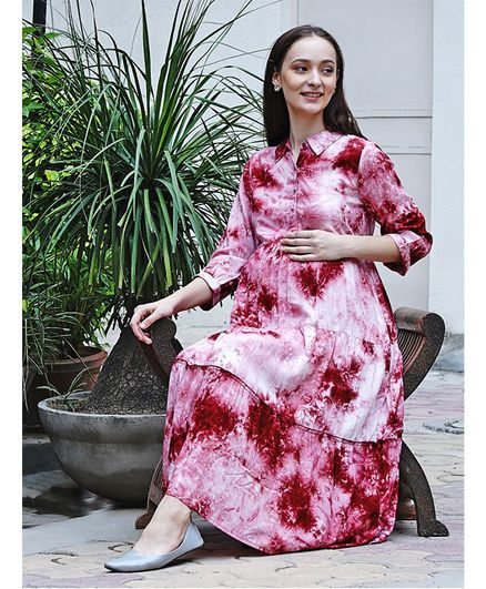 Mine4Nine Three Fourth Sleeves Tie & Dye Pattern Maternity Shirt Dress - Pink