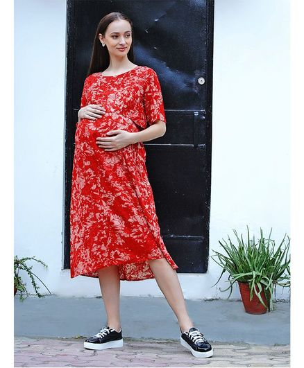 Mine4Nine Half Sleeves Floral Print Maternity Dress - Red