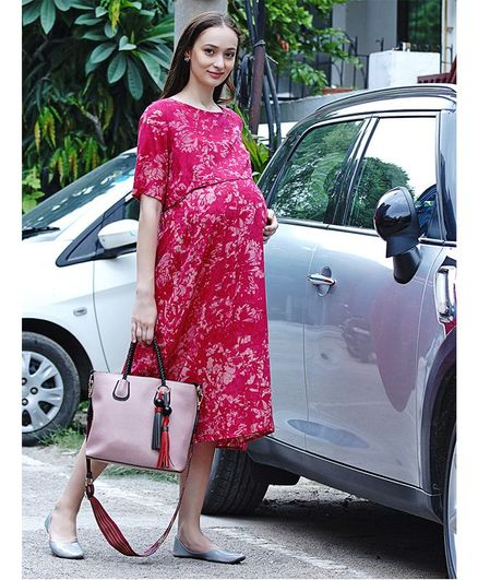 Mine4Nine Half Sleeves Floral Print Maternity Dress - Pink
