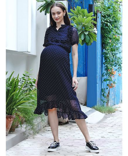 Mine4Nine Half Sleeves Polka Dot Printed Maternity Dress - Navy Blue