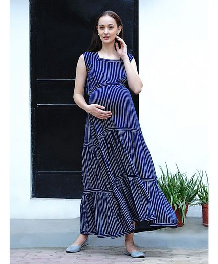 Mine4Nine Sleeveless Striped Maternity Maxi Dress - Blue