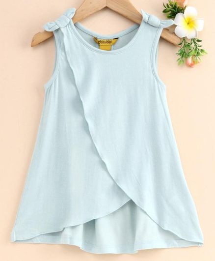 Global Desi Girl Sleeveless Over Lapped Bow Knot Top - Light Blue
