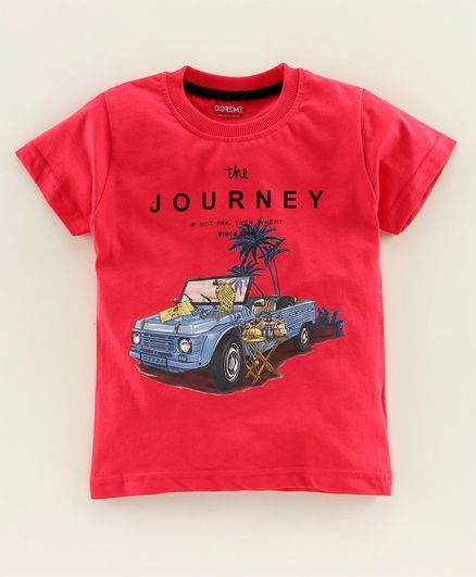 Doreme Half Sleeves Tee Jeep Print - Red