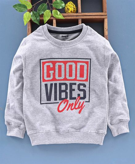 Smarty Full Sleeves T-Shirt Good Vibes Print - Melange Grey