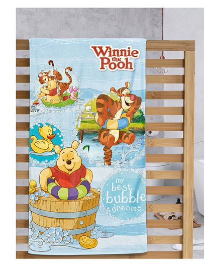 Sassoon Winnie the Pooh Printed Cotton Kids Towel - Yellow
