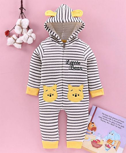 Mom's Love Full Sleeves Winter Wear Romper With 3D Ears Hood - Yellow Black