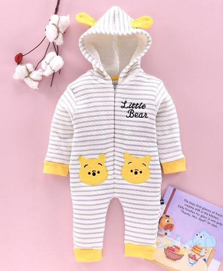Mom's Love Full Sleeves Winter Wear Hooded Romper with 3D Ears Bear Patch - Grey