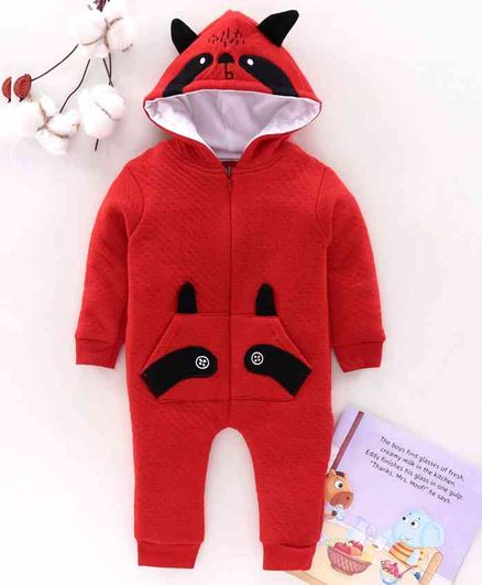 Mom's Love Full Sleeves Winter Wear Hooded Romper - Red