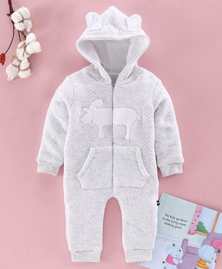 Mom's Love Full Sleeves Winter Wear Romper With 3D Ears Hood - Grey
