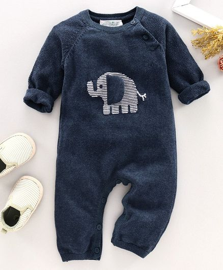 Wildlinggs Full Length Romper Elephant Patch - Blue