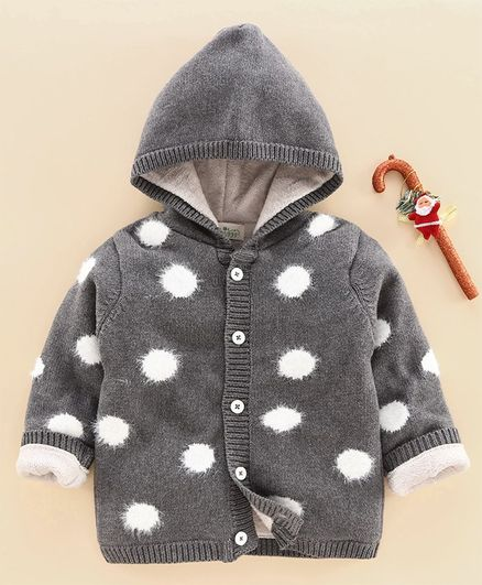 Wildlinggs Full Sleeves Front Open Hooded Neck Sweater Polka Dots Design - Grey