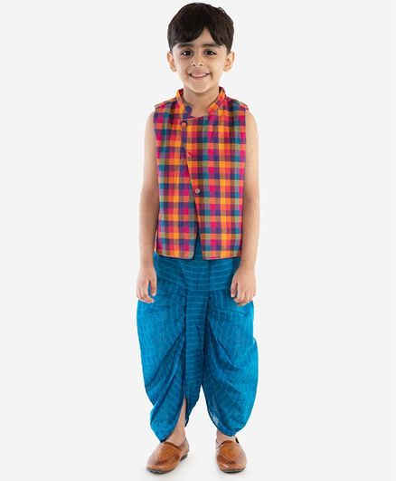 Lil Peacock Sleeveless Checkered Kurta & Dhoti Set - Blue
