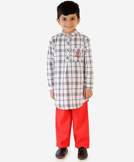 Lil Peacock Full Sleeves Checkered Kurta & Pajama Set - White & Orange