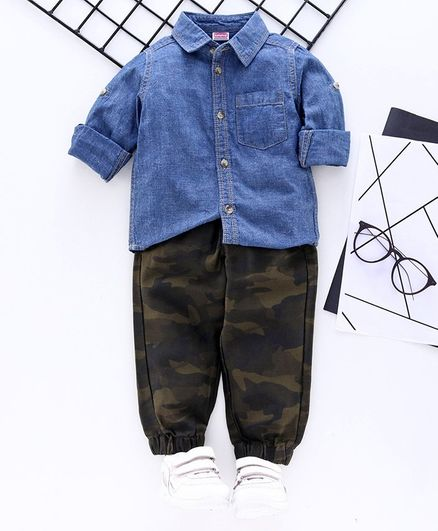 Babyhug Full Sleeves Denim Shirt & Jogger Pants - Blue Green