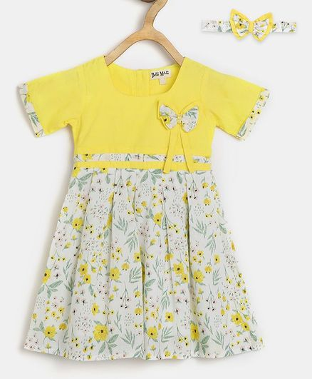 Bella Moda Half Sleeves Flower Printed Dress With Bow Headband - Yellow