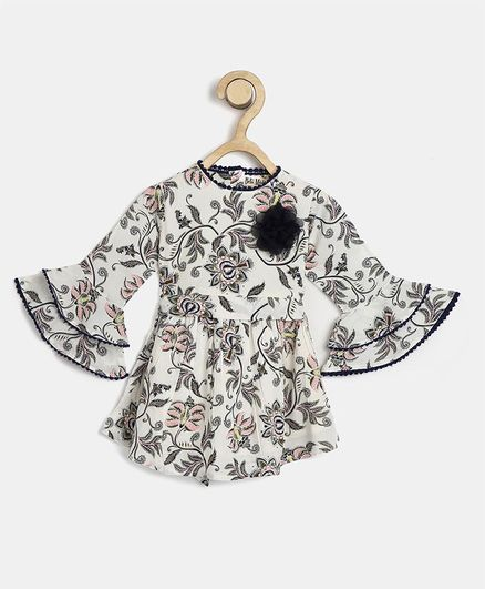 Bella Moda Full Sleeves Flower Print Woven A-Line Dress With Applique And Tie-Up - White