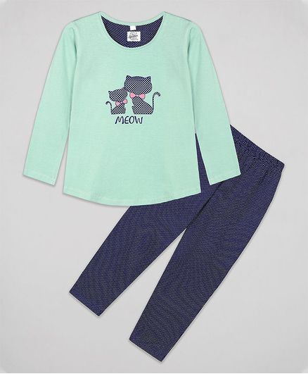 The Sandbox Clothing Co Meow Print Full Sleeves Night Suit Set - Blue