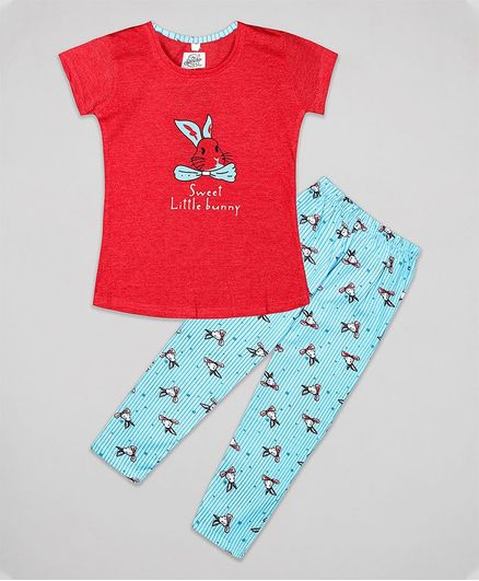 The Sandbox Clothing Co Short Sleeves Bunny Print Night Suit Set - Red