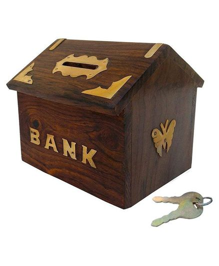 Webby Handmade Wooden Hut Shape Piggy Bank with Keys - Brown
