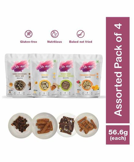 She Made Assorted Biscotti - Cranberry orange -  Dark chocolate rock salt -  Double dark pistachio -  Almond - Pack of 4 - 56.6gm Each - Gluten-free, Vegetarian, Nutritious Diet, Healthy Snacks