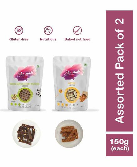 She Made Assorted Biscotti pack - Almond -  Double dark chocolate -  pistachio - Pack of 2 - 150 gms Each - Gluten-free, Vegetarian, Nutritious Diet, Healthy Snacks