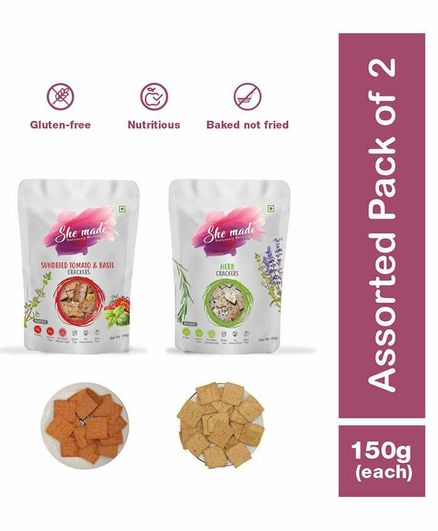She Made Assorted Crackers pack - Sundried tomato -  Herb - Pack of 2 - 150 gm Each - Gluten-free, Vegan, Nutritious Diet, Healthy Snacks