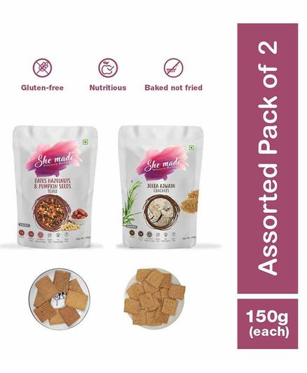 She Made Assorted Toast pack - Date -  Jeera ajwain - Pack of 2 - 150 gm Each - Gluten-free, Vegan, Nutritious Diet, Healthy Snacks