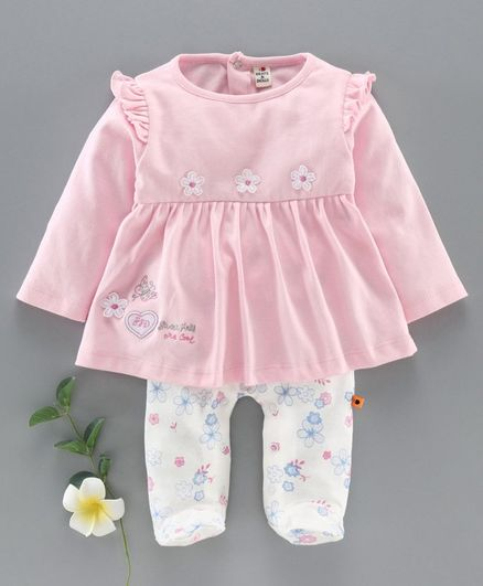 Brats And Dolls Full Sleeves Romper Flower Patch Print - Pink