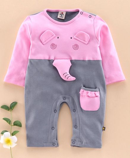 Brats and Dolls Full Sleeves Romper Elephant Applique - Pink