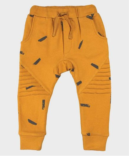 Nino Bambino 100% Organic Cotton Printed Full Length Trackies - Yellow