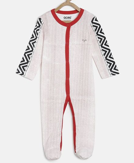 Aomi Basic Full Sleeves Printed  Sleepsuits - Off White