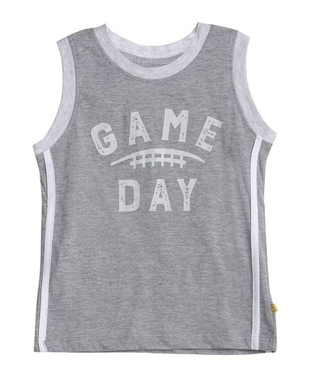 Aomi Sleeveless Game Day Print T-Shirt - Grey