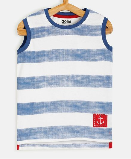 Aomi Sleeveless Striped T-Shirt - Blue & white