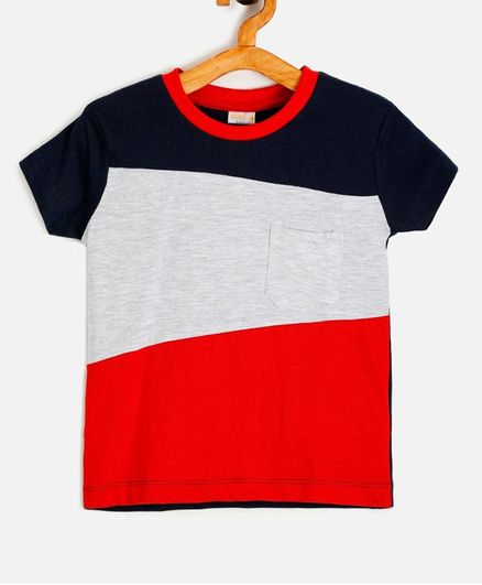 Aomi Color Block Half Sleeves Tee - Black