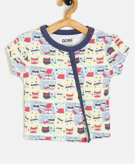 Aomi Cat Printed Short Sleeves Tee - Multicolour