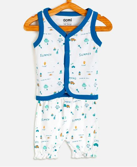 Aomi Car Printed Sleeveless Vest With Shorts - Blue