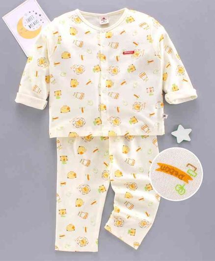 Brats and Dolls Full Sleeves Night Suit Animal Print - Yellow